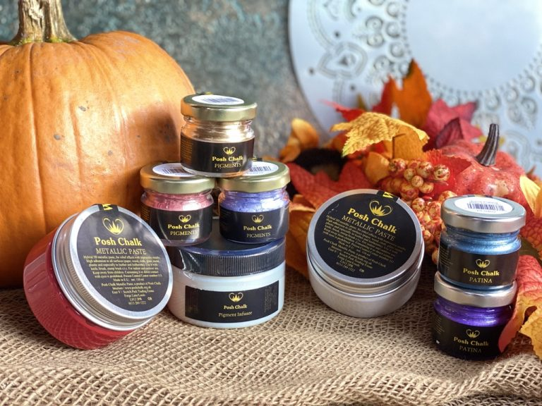 A selction of the new Posh Chalk products against an autumn background