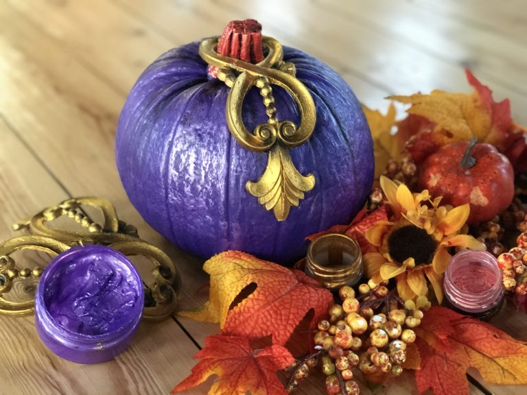 Pumpkin with Posh Chalk Violet Paste and Decorative Mouldings in an Autumn Setting