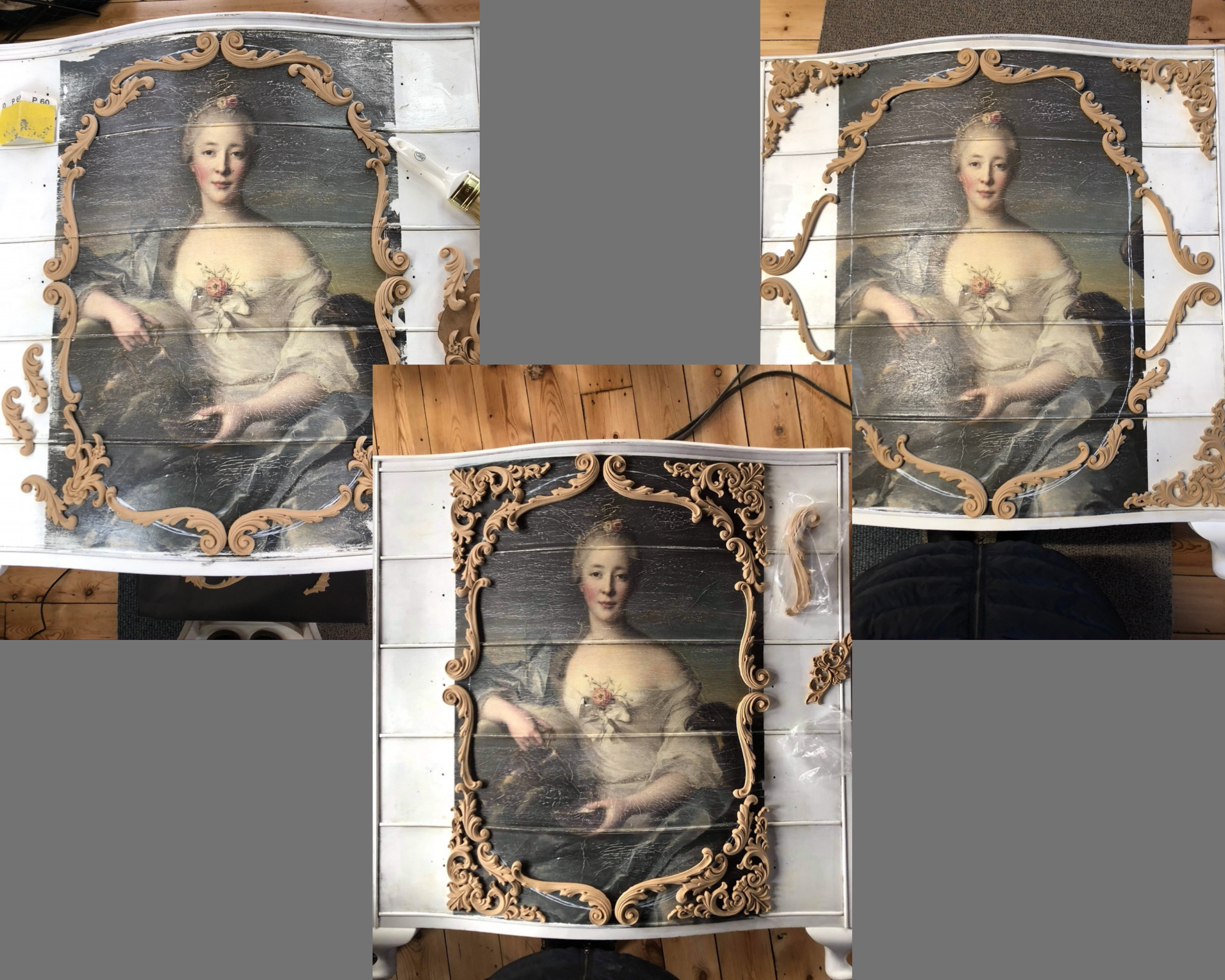 Three images of Hope woth different furniture appliques placed around the decoupage paper