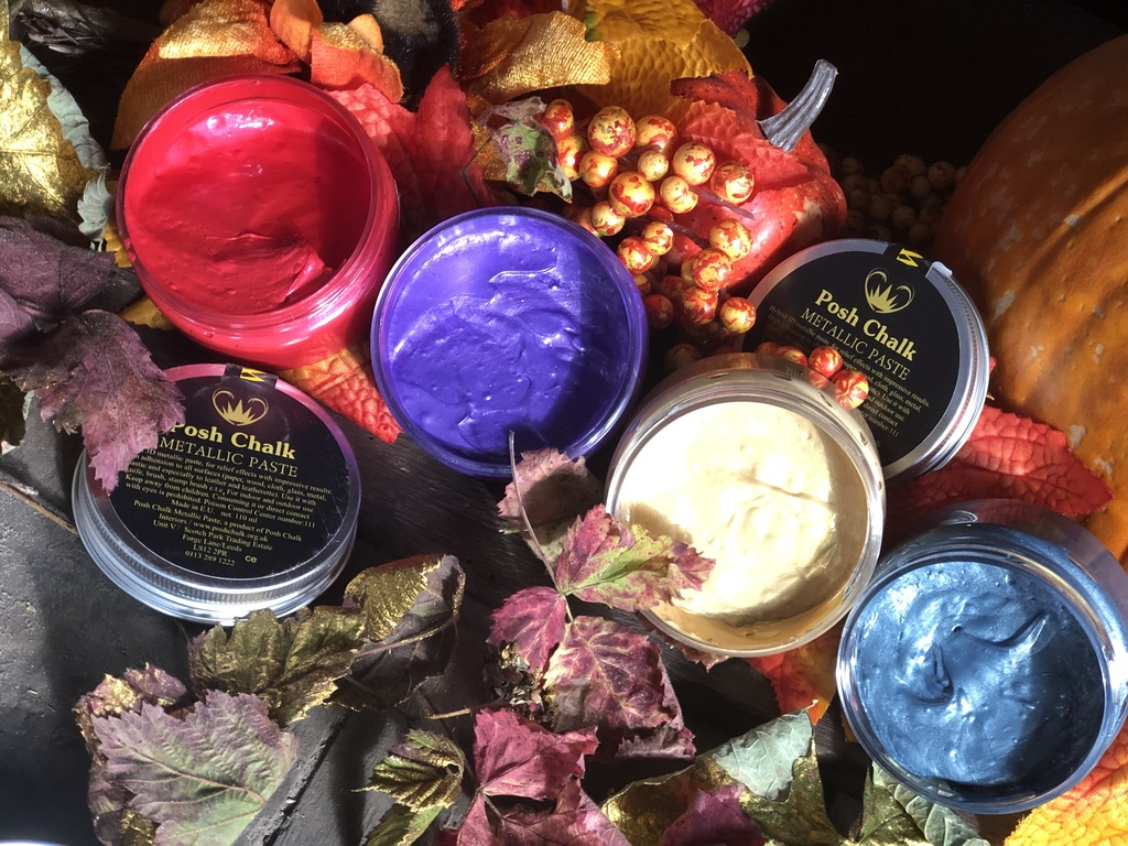 Posh Chalk Pastes in a variety of colours against an Autmnal background