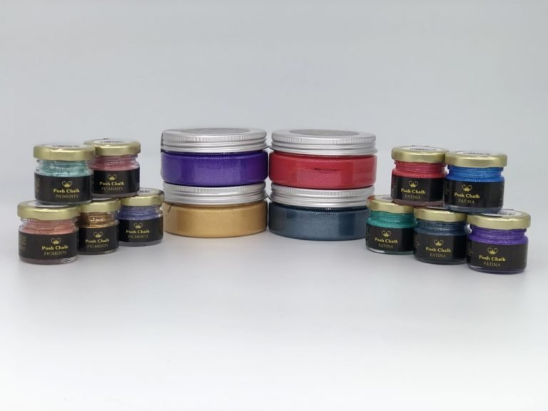 Various Posh Chalk Products in Various colours against a white background