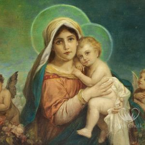 A decouapge design against an aqua background showing a madonna and child image in the foreground with halos around their heads