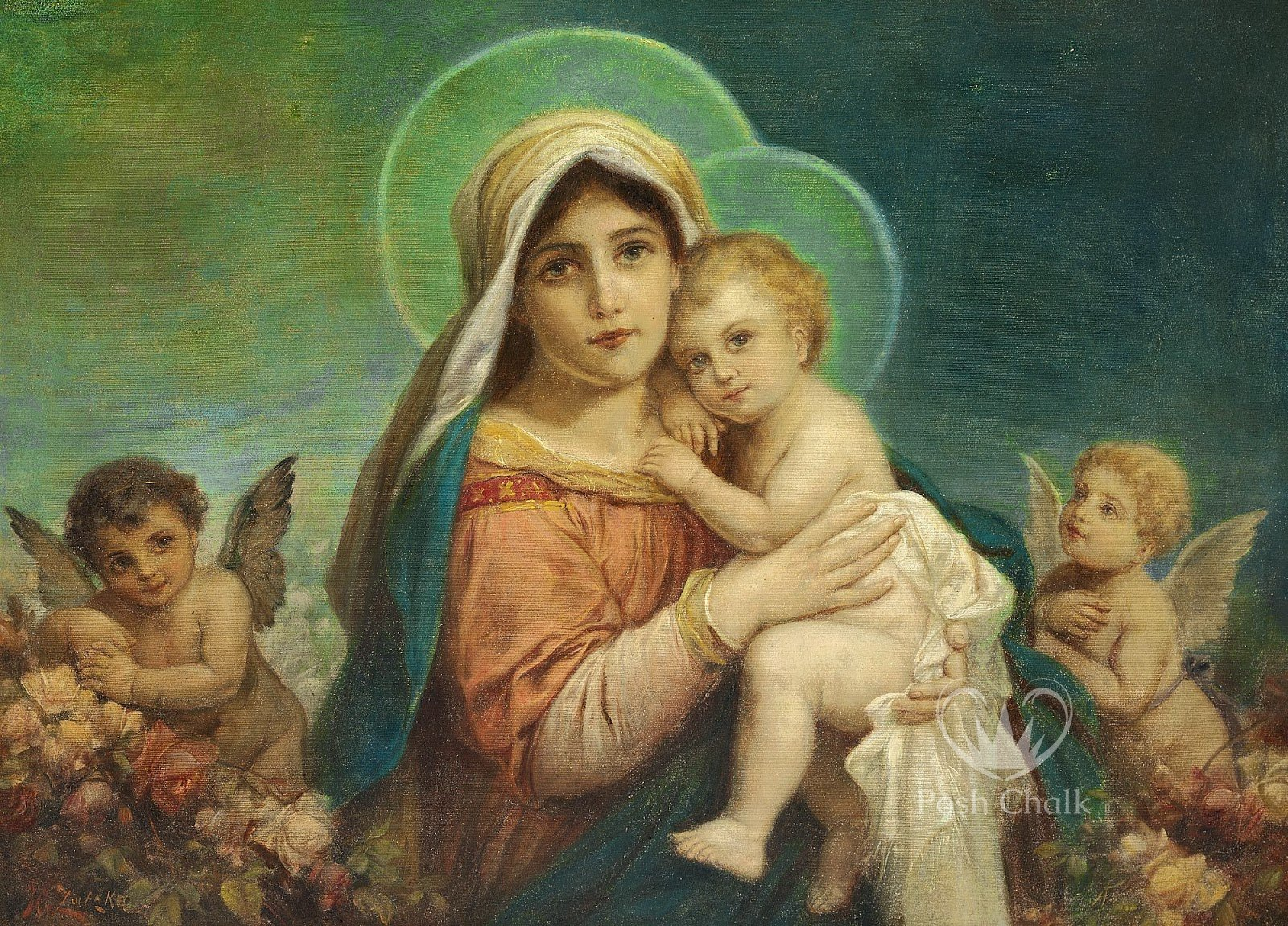A decouapge design against an aqua background showing a madonna and child image in the foreground with halos around their heads. At either side two cherubs look on adoringly.