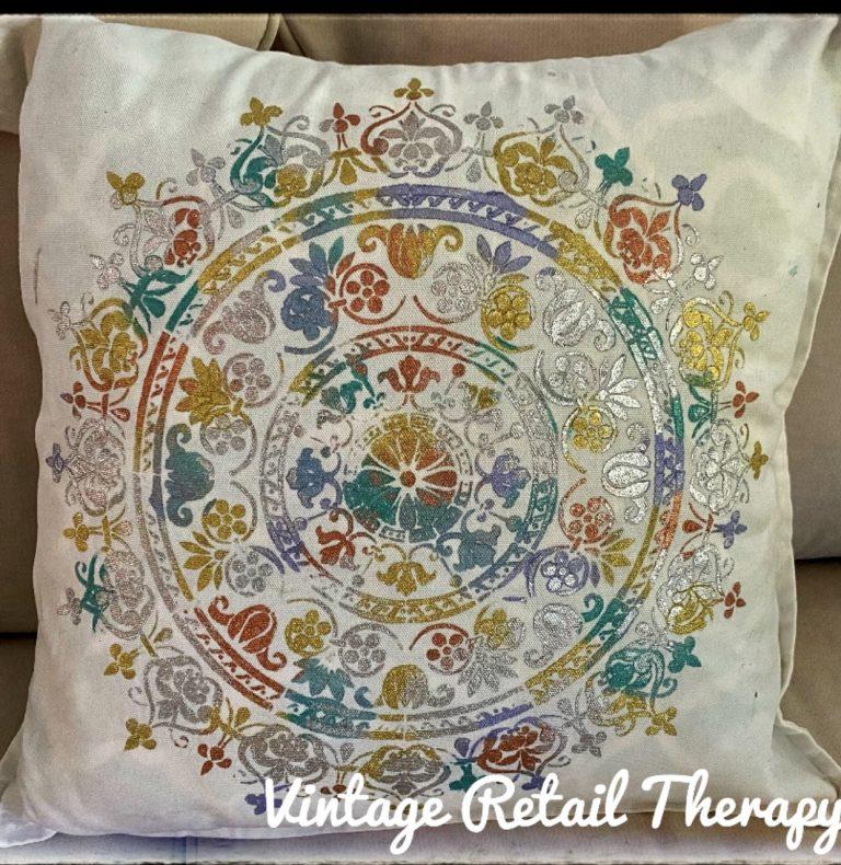 Stencilling on fabric - a multicolour mandala
