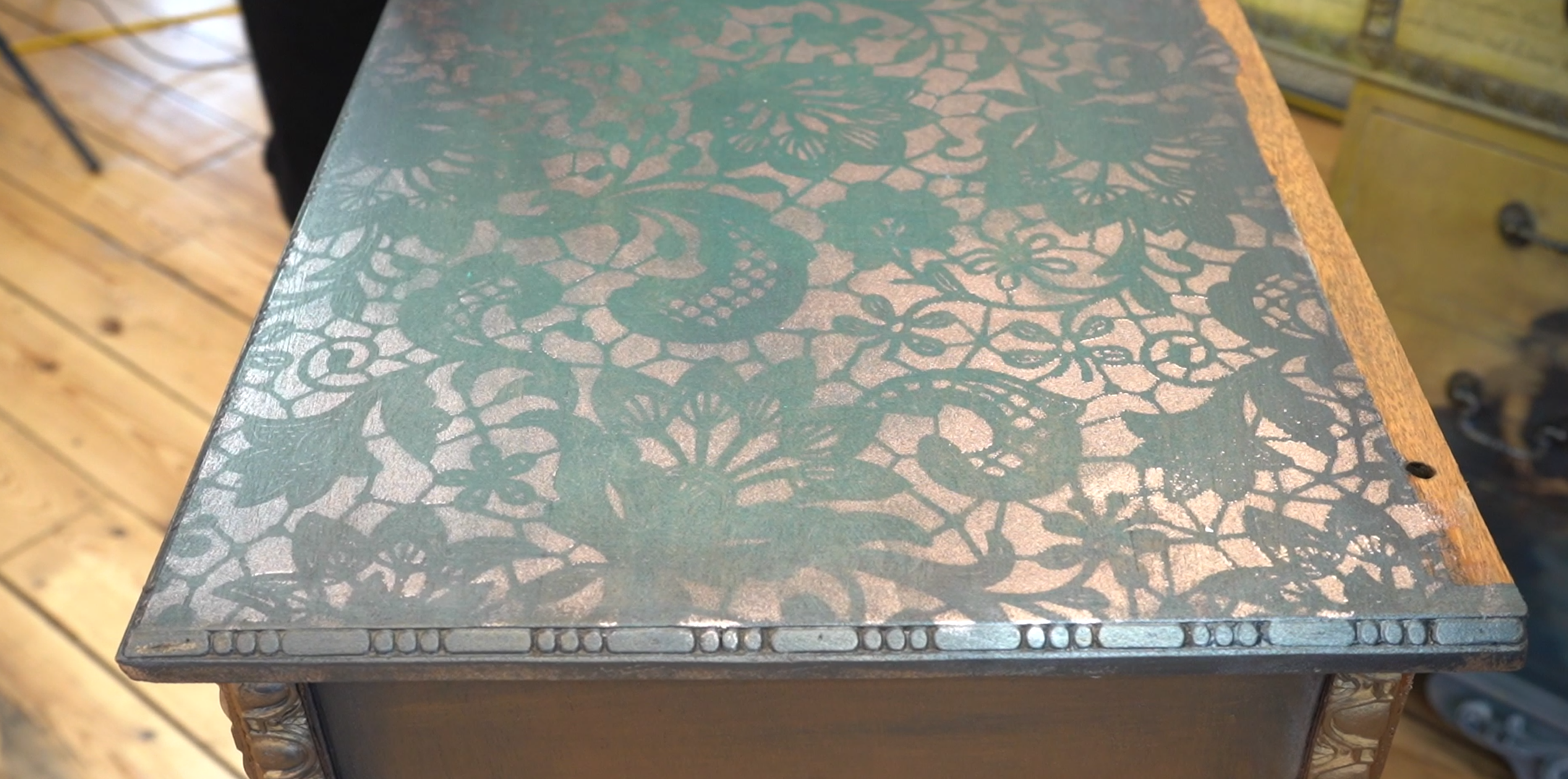 the top of a set of drawers stencilled with Posh Chalk Pigments